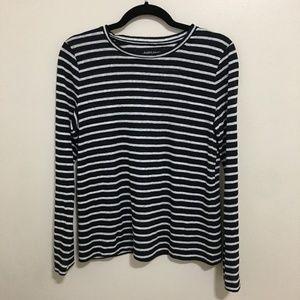 EILEEN FISHER striped linen long sleeve tee AQ4